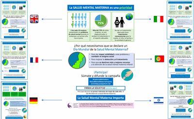 El póster de divulgación de la Campaña del Día mundial de la Salud Mental Materna de este año, inicialmente diseñado en español por una de nuestras socias más activas, la Dra. Elena Serrano Drozdowskyj, ha sido adaptado al resto de los países y traducido a diez idiomas.